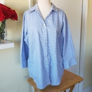 Chaps blue and white squared button up shirt